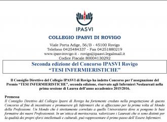 """Seconda edizione del Concorso IPASVI Rovigo """"TESI INFERMIERISTICHE"""""""