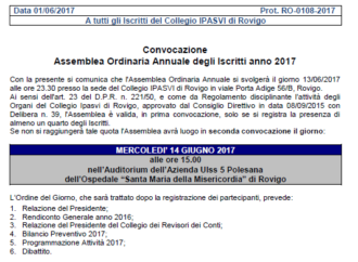 MERCOLEDI' 14 GIUGNO ore 15:00. Assemblea Ordinaria Annuale degli Iscritti 2017.