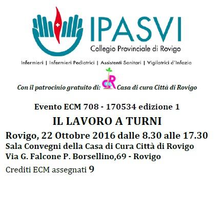 """Rovigo, Corso ECM """"Il lavoro a turni"""" Sabato 22 Ottobre 2016"""