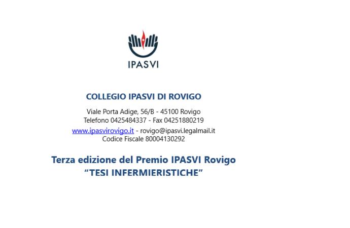 """Terza edizione del Premio IPASVI Rovigo """"TESI INFERMIERISTICHE"""" 2018"""