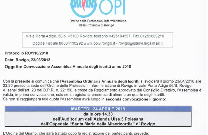24/04/2018 Assemblea Ordinaria Annuale Iscritti anno 2018.