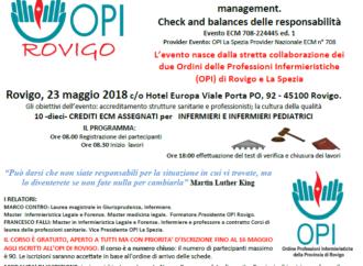 Rovigo 23 Maggio 2018, 10 crediti ECM: Gli orizzonti del Nursing.  L'Infermiere: assistenza, coordinamento e management.  Check and balances delle responsabilità.