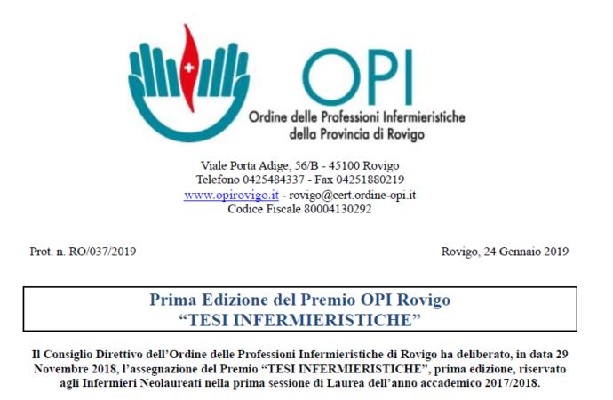 """Prima Edizione del Premio OPI Rovigo """"TESI INFERMIERISTICHE""""."""