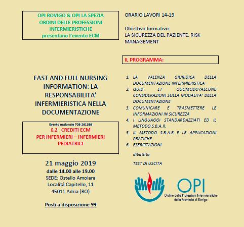 """Adria 21.05.2019 Nuovo corso ECM gratuito. """"FAST AND FULL NURSING INFORMATION: LA RESPONSABILITA' INFERMIERISTICA NELLA DOCUMENTAZIONE"""""""