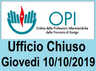 UFFICIO CHIUSO il 10/10/2019