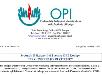 """Seconda Edizione del Premio OPI Rovigo """"TESI INFERMIERISTICHE""""."""