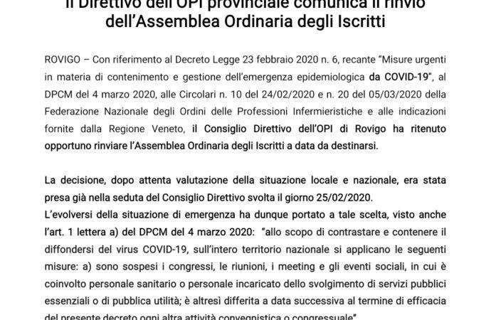 Il Direttivo dell'OPI provinciale comunica il rinvio dell'Assemblea Ordinaria degli Iscritti.